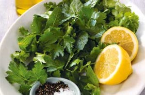 Three-herb leaf salad