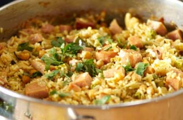 Phil Vickery's mild curried Spam pilaff recipe