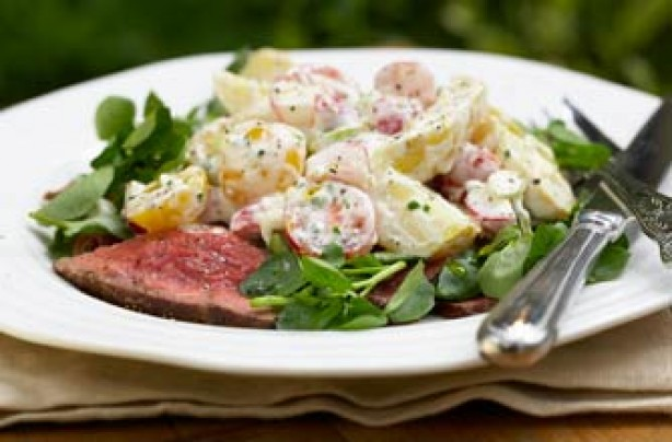 Rare roast beef and crushed potato salad