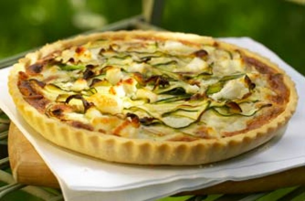 Courgette, goat?s cheese and toasted pinenut tart