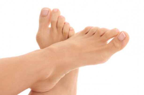 Woman's bare toes