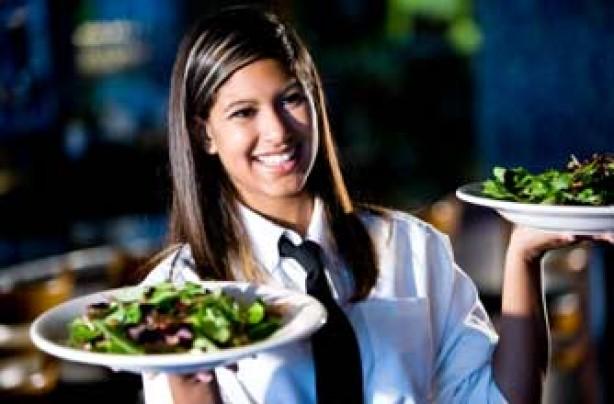Teenage girl waitressing