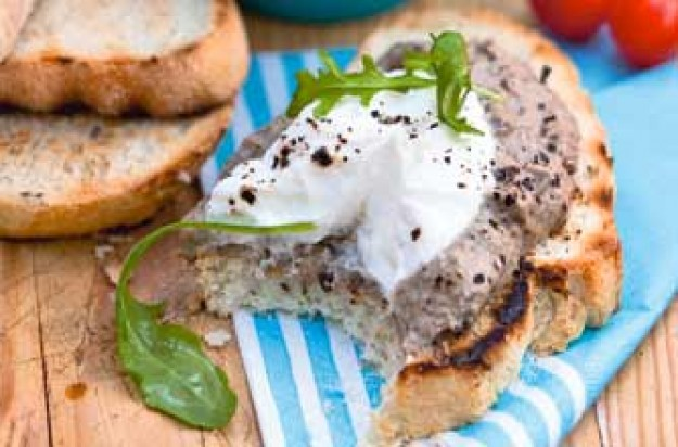 Toasted ciabatta with a spread of aubergine and yogurt