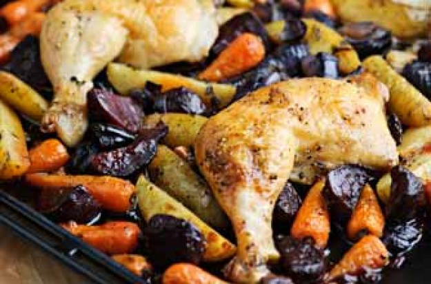One-pan roast chicken and beetroot recipe
