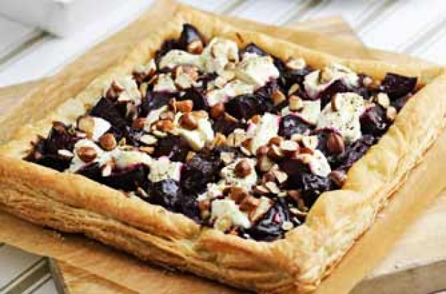 Beetroot, goat's cheese and hazelnut tart recipe