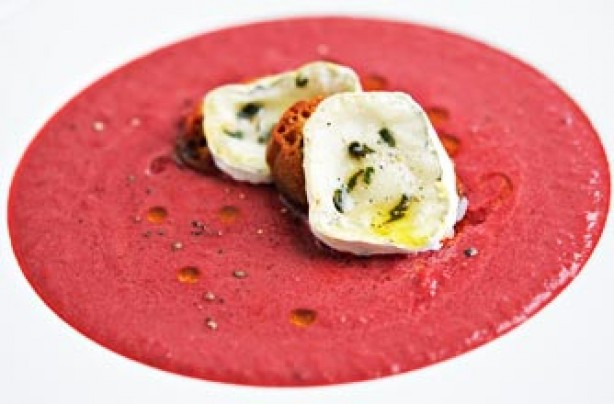 Beetroot soup with goat's cheese croutons recipe