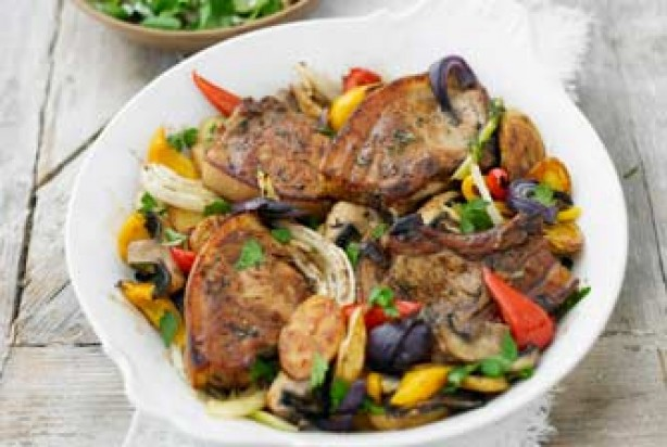 One-pot pork chops & Med veg