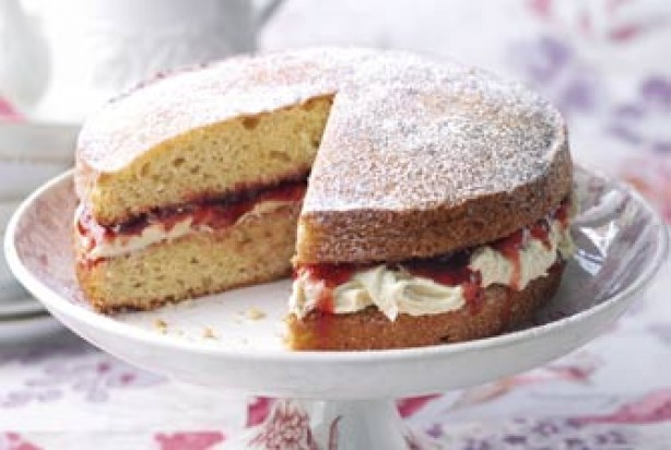 Classic Victoria sponge with white chocolate buttercream