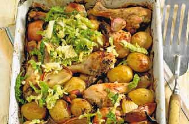 potato and chicken drumstick roast