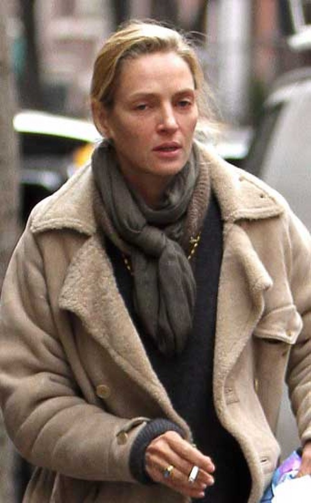 Uma Thurman, make-up, no make-up,