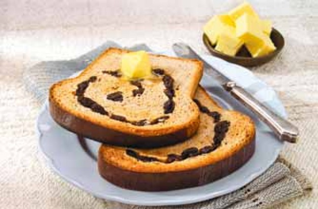 This raisin loaf is slightly sweet and has a hint of cinnamon. It is very tasty when toasted with a spread of butter.