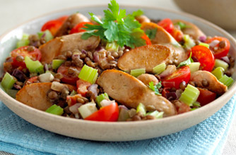 Quorn Sausages with lentils recipe - goodtoknow