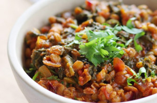 Lentil and spinach curry