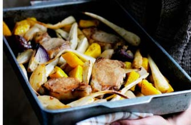 Autumn pork roast with parsnips and pears