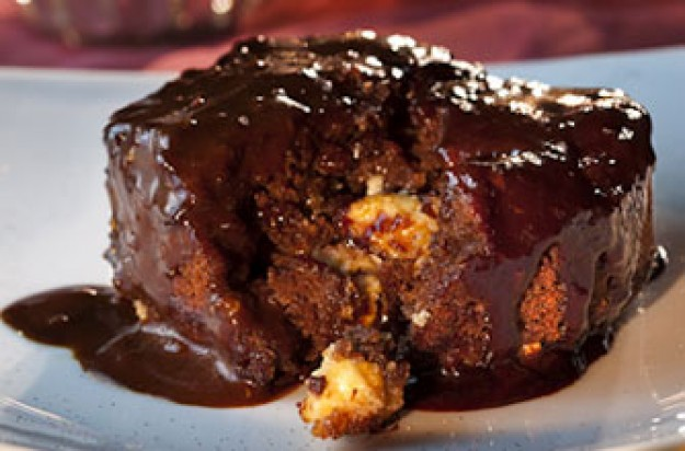Hot Maltesers pudding with caramel sauce