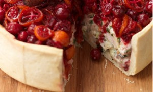 Turkey and ham pie with cranberry topping, recipes
