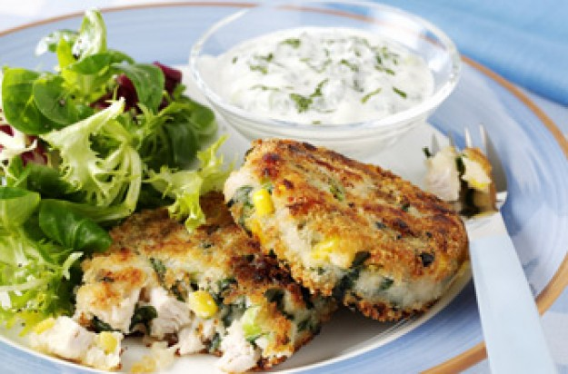 Roast turkey hash cakes with yoghurt & mint dressing