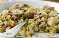 Crushed potatoes with tuna and sweetcorn