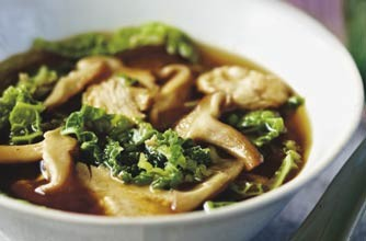 A satisfying savoury snack of miso soup made with chicken, cabbage and mushrooms. It is very easy to cook