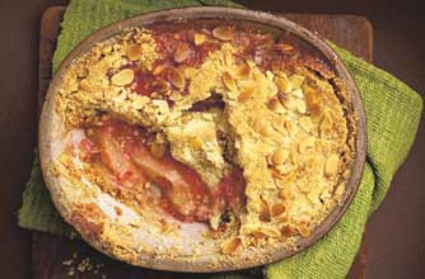 Pear, apple and raspberry crumble