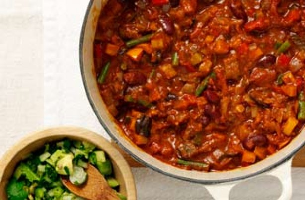 Veggie chilli with zingy avocado salsa