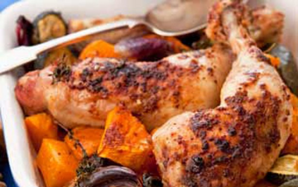 Maple-glazed chicken with butternut squash