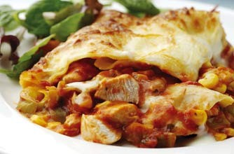 Chicken, leek and sweetcorn lasagne