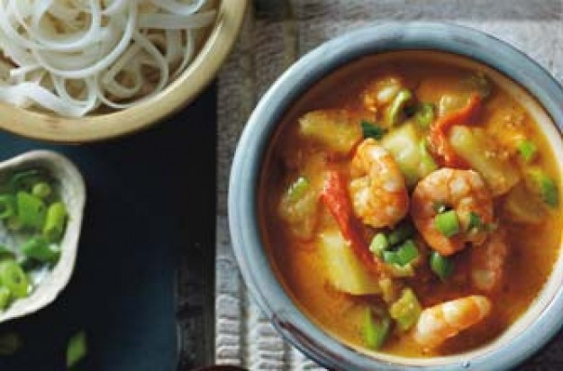 prawn curry and noodles