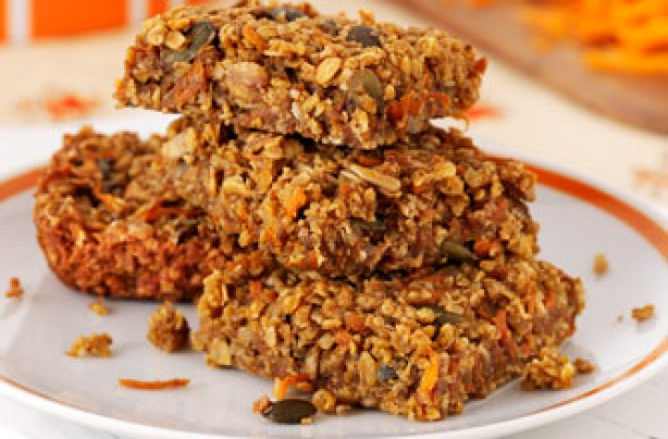 Crunchy carrot and seed flapjacks