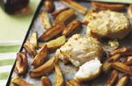 Home-made fish and chips that is tasty and healthier. They are baked rather than fried in oil. It is easy to prepare and a great favourite for the whole family