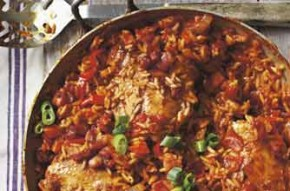 This is a great way to cook chicken. It can be cooked in a casserole or a payella pan. It is spicy and is a one-pot meal to serve 4-6 people. A great recipe revived from Woman's Weekly issue 1984.