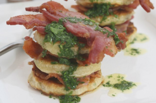 Lightly spiced crispy bacon with mushroom pancakes