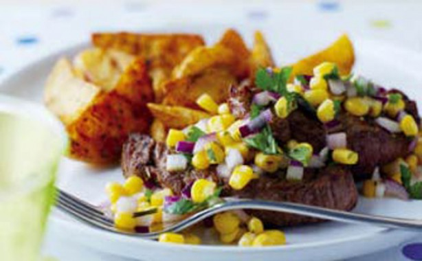 Lamb chops and sweetcorn salsa