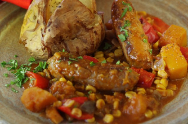 Slow cooked sausage casserole