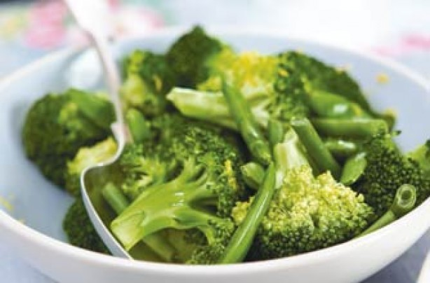 A trio of sugar-snap peas, fine green beans and broccoli. It is steamed cooked in the microwave. It is so easy and quick even children can cook it.