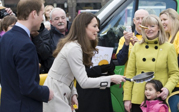 Kate Middleton and Prince William toss pancakes in Northern Ireland