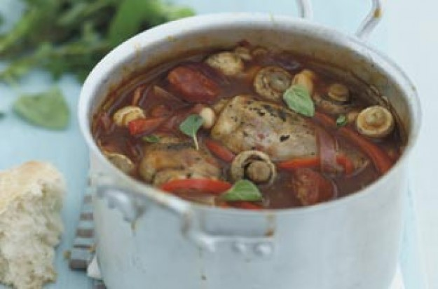 This is a great one pot meal for the whole family. It is easy and quick to cook. Chicken is stewed with chirozo sausages, mushrooms, tomatoes and cannellini beans.