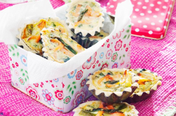 Mini Quiches With Spring Vegetables And Smoked Salmon