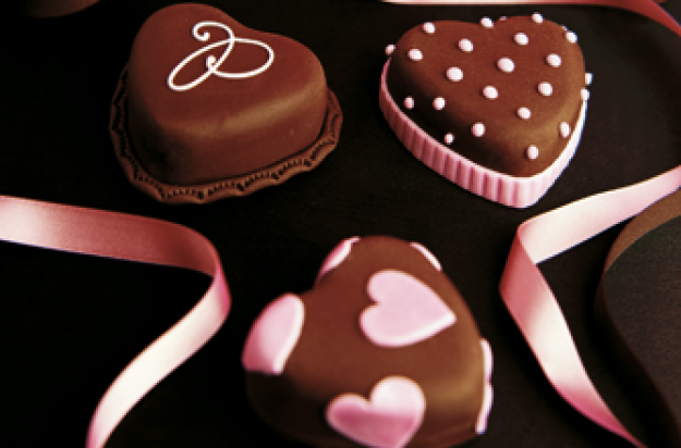 Romantic chocolate hearts