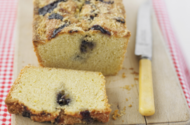 Lemon and wild blueberry swirl cake