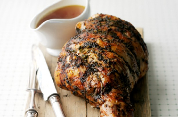 Roast leg of lamb with tarragon and mint butter recipe