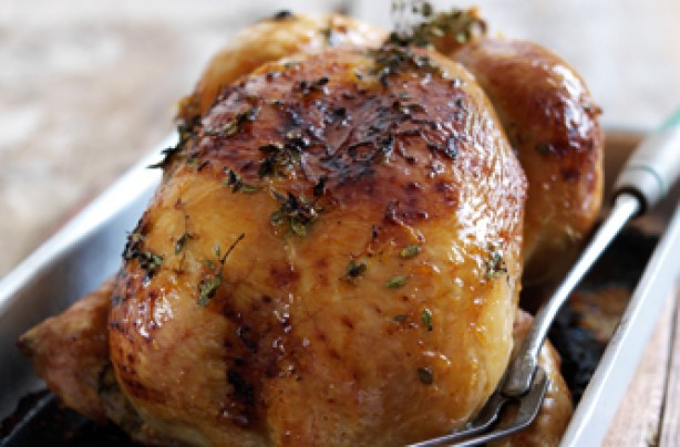 Honey and lemon thyme roast chicken