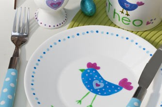 Easter chick ceramic painting