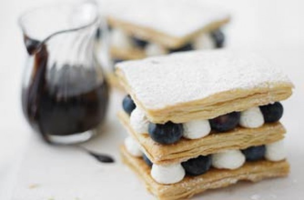 Blueberry and lemon millefeuille