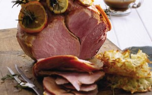 Roasted gammon and rosti potatoes