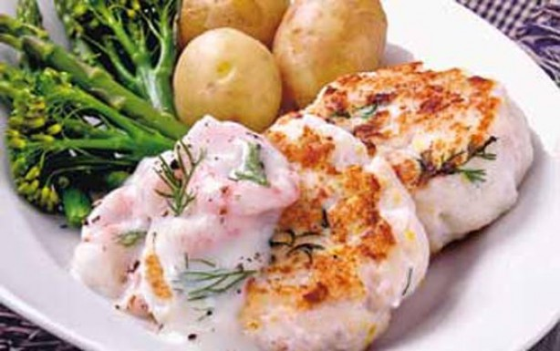 Fishcakes with prawn sauce