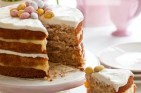 A delicious moist, suitably decorated to celebratae Easter. This cake is layered and topped with mascarpone cheese. It can be freezed so it can be baked in advance.