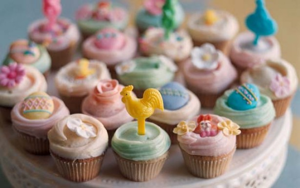 cupcakes, vanilla, easter,