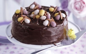 chocolate cake, chocolate fudge cake, easter cake,