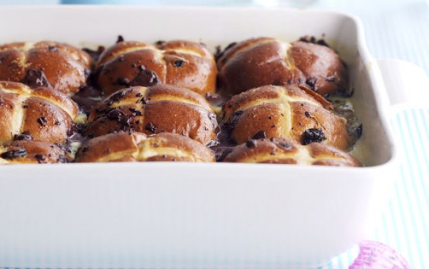 ... hot cross buns, chocolate hot cross buns, bread and butter pudding